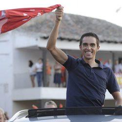 Alberto Contador celebra en Pinto su victoria en La Vuelta a España 2012