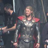Chris Hemsworth en el rodaje de 'Thor: The Dark World'