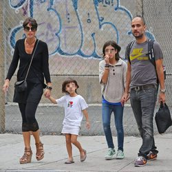 Pep Guardiola con su mujer y sus hijas en Nueva York