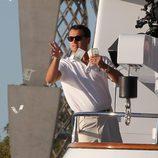Leonardo Dicaprio en una de las escenas durante el rodaje 'The Wolf of Wall Street'