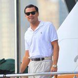 Leonardo Dicaprio sonriente en el rodaje 'The Wolf of Wall Street'