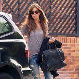 Sara Carbonero saliendo de su casa de Boadilla del Monte para ir a trabajar