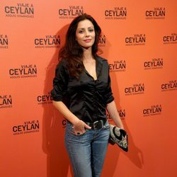 Ana Álvarez en la presentación de un perfume con Eduardo Noriega como imagen