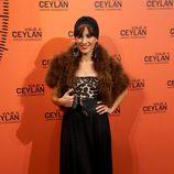 Ana Turpín en la presentación de un perfume con Eduardo Noriega como imagen
