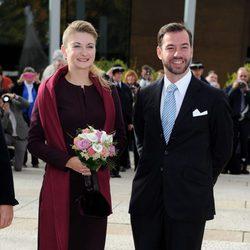 Guillermo de Luxemburgo y Stéphanie de Lannoy en una recepción previa a su boda civil