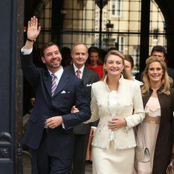 Guillermo de Luxemburgo y Stéphanie de Lannoy en su boda civil