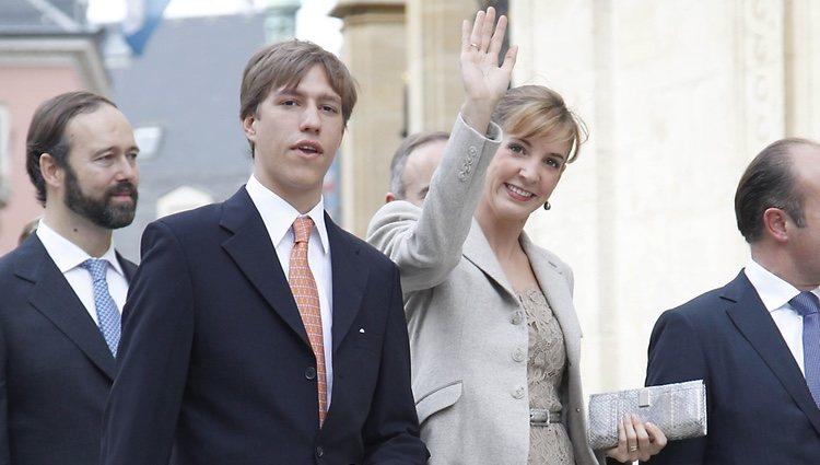 Los Príncipes Louis y Tessy en la boda civil de Guillermo de Luxemburgo y Stéphanie de Lannoy