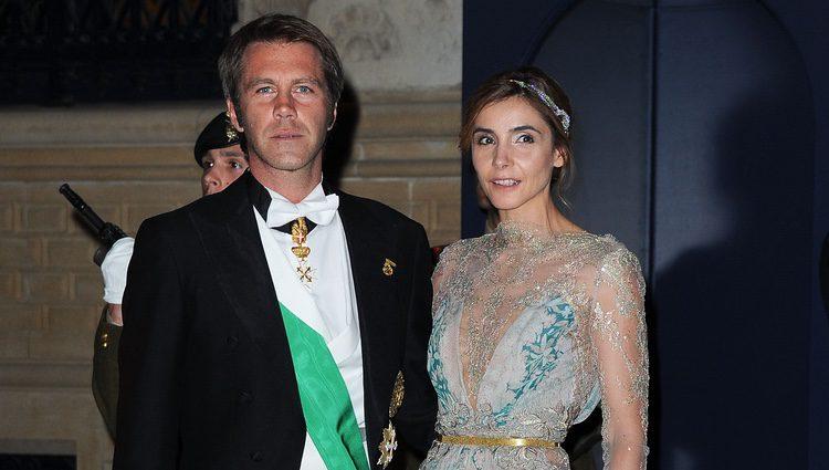 Filiberto de Saboya y Clotilde Courau en la cena de gala previa a la boda de Guillermo y Stéphanie