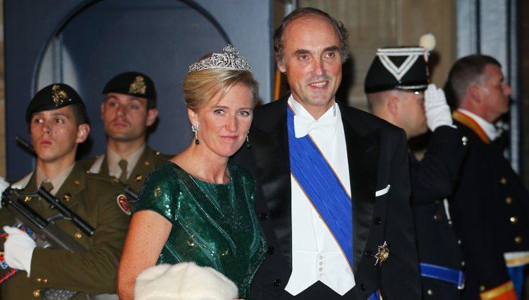 Astrid y Lorenzo de Bélgica en la cena de gala previa a la boda de Guillermo y Stéphanie