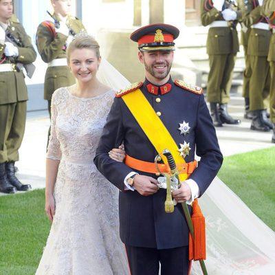 Los Príncipes Guillermo y Stéphanie de Luxemburgo el día de su boda