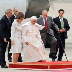 Los Reyes de España y el Papa Benedicto XVI en Madrid-Barajas