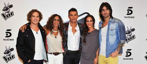 Los coach y Javier Vázquez en el programa 'La Voz'