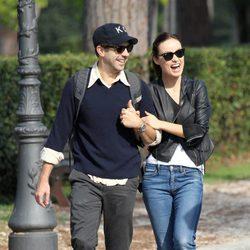 Olivia Wilde y Jason Sudeikis muy sonrientes en Roma