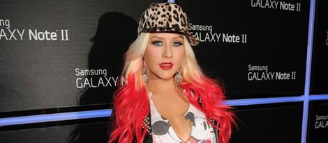 Christina Aguilera en la fiesta de lanzamiento del Samsung Galaxy Note II
