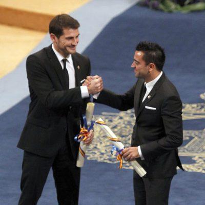 Iker Casillas y Xavi Hernández celebran su Premios Príncipe de Asturias 2012