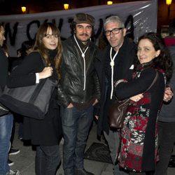Cuca Escribano, José Manuel Seda y Eduardo Velasco en la manifestación de los actores en defensa de la Cultura