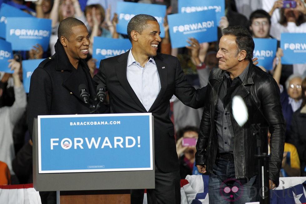 Barack Obama con Jay-Z y Bruce Springsteen