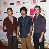 Nick Jonas, Joe Jonas y Kevin Jonas en el photocall de los MTV Europe Music Awards 2012