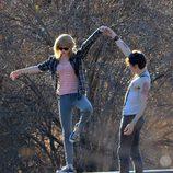 Taylor Swift en la grabación de su nuevo videoclip, 'I Knew You Were Trouble'