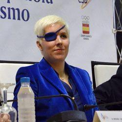 María de Villota en su primera rueda de prensa tras el accidente