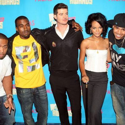 Kanye West, Robin Thicke, Rihanna, y Chris Brown en los VMA 2007