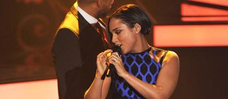 Alicia Keys actuando en el programa de la televisión alemana 'Wetten, dass..?'