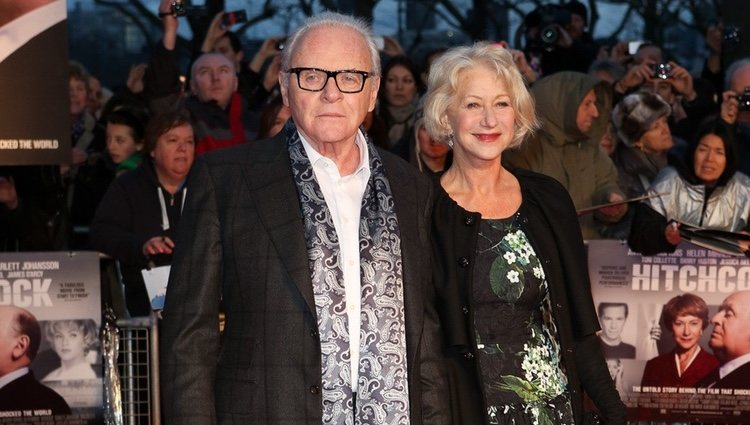 Anthony Hopkins y Helen Mirren en el estreno de 'Hitchcock' en Londres