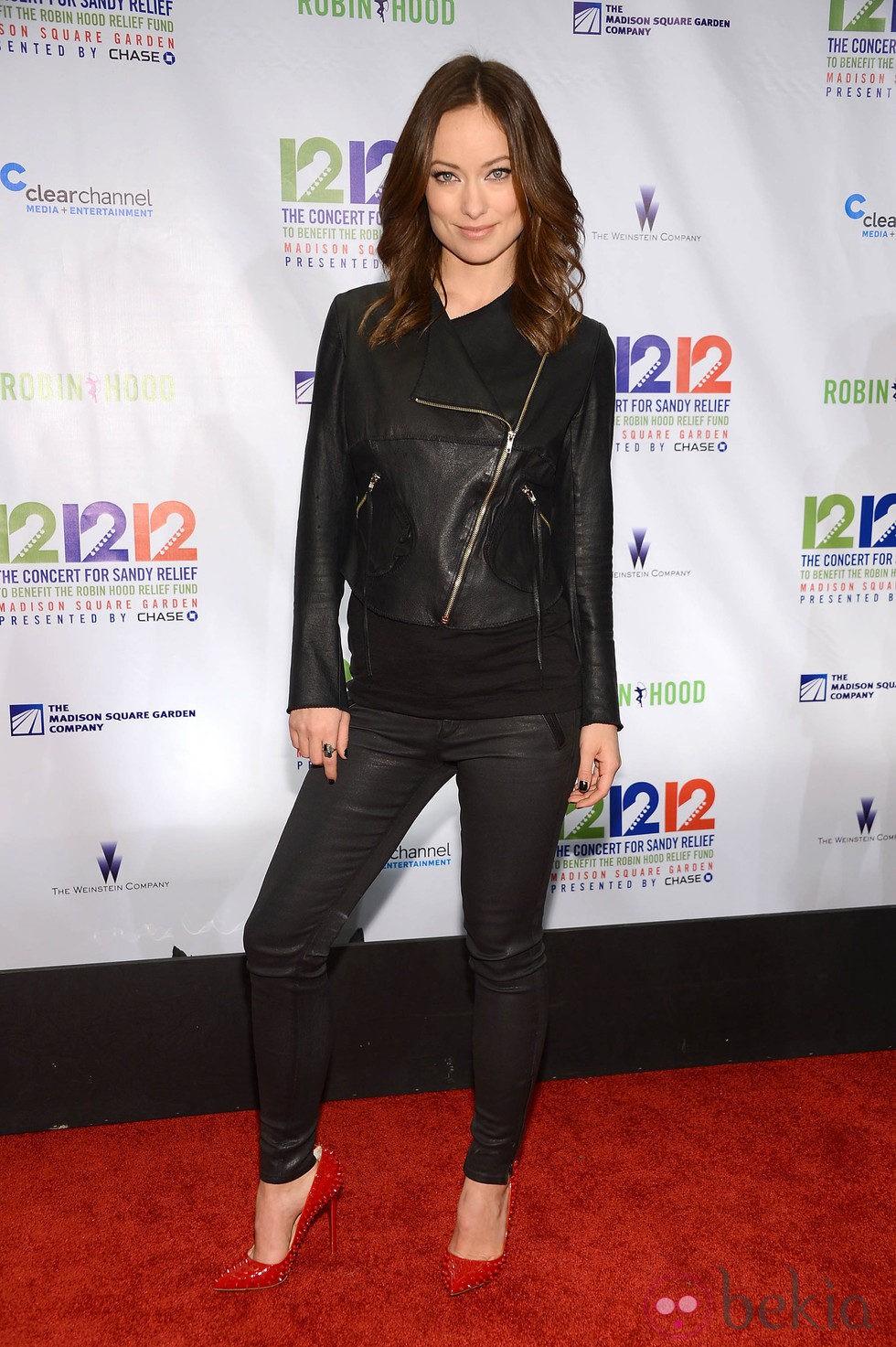 Olivia Wilde en el concierto a favor de las víctimas del huracán Sandy