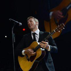 Chris Martin en el concierto a favor de las víctimas del huracán Sandy