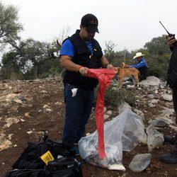 Policías peinando en el lugar del accidente del avión donde viajaba Jenni Rivera