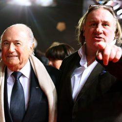 Gerard Depardieu en la gala de entrega del Balón de Oro 2012
