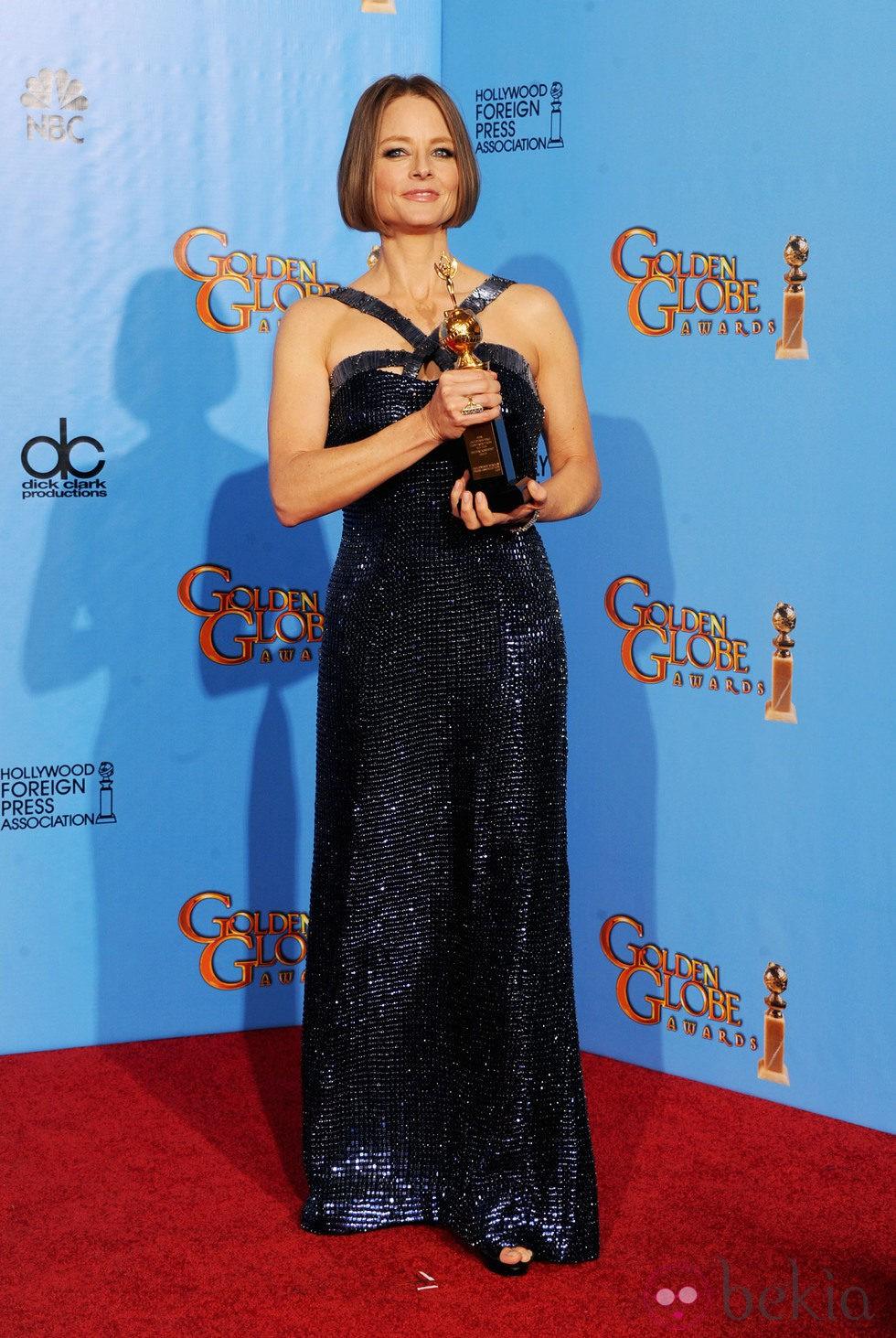 Jodie Foster en los Globos de Oro 2013 con el galardón honorífico Cecil B. de Mille