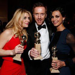 Claire Danes, Damian Lewis y Morena Baccarin en la fiesta de Fox tras los Globos de Oro 2013
