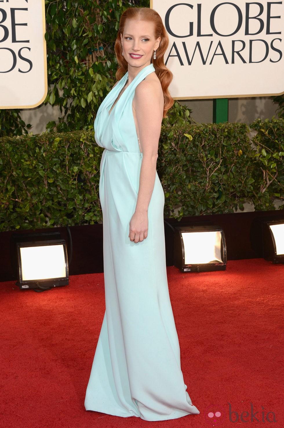 Jessica Chastain en la alfombra roja de los Globos de Oro 2013
