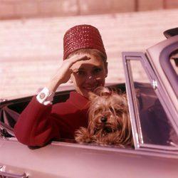 Audrey Hepburn en un descapotable con su inseparable perro