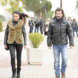 Xenia Tostado y Rodolfo Sancho en el funeral de Fernando Guillén