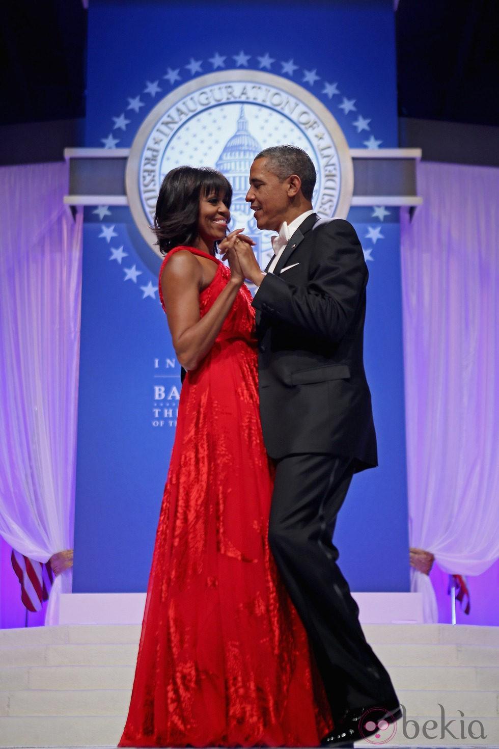 Barack y Michelle Obama en el baile inaugural del segundo mandato de Barack Obama