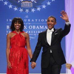 Barack y Michelle Obama tras la toma de posesión del segundo mandato de Obama