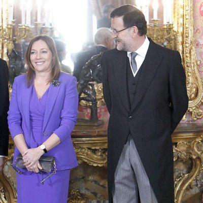 Mariano Rajoy y Elvira Fernández Balboa en la recepción al Cuerpo Diplomático
