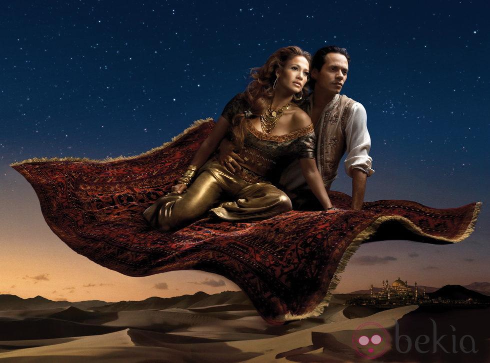 Jennifer Lopez y Marc Anthony se convierten en los personajes de Disney Jasmine y Aladdin