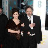 Helena Bonham Carter y Tim Burton en la alfombra roja de los BAFTA 2013