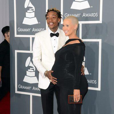 Amber Rose y Wiz Khalifa en la alfombra roja de los Grammy 2013