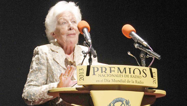 Menchu Álvarez del Valle durante su discurso en la entrega del Premio Nacional de Radio