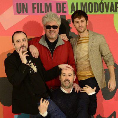 Pedro Almodóvar, Carlos Areces, Javier Cámara y Raúl Arévalo presentan 'Los amantes pasajeros' en Madrid