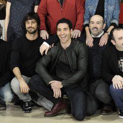 Willy Toledo, Hugo Silva, Miguel Ángel Silvestre, Javier Cámara y Carlos Areces en la presentación de 'Los amantes pasajeros' en Madrid