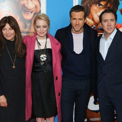Catherine Keener, Emma Stone, Ryan Reynolds y Nicolas Cage en el estreno de 'Los Croods' en Nueva York