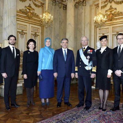 La Familia Real Sueca con el presidente de Turquía y su esposa