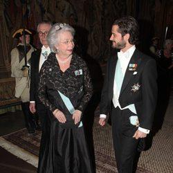 La Princesa Cristina y el Príncipe Carlos Felipe en la cena al gala al presidente de Turquía