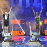 Nacho Montes y Mónica Pont preparándose para saltar juntos en '¡Mira quién salta!'