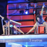 Fortu y Dani Santos preparándose para saltar juntos en '¡Mira quién salta!'